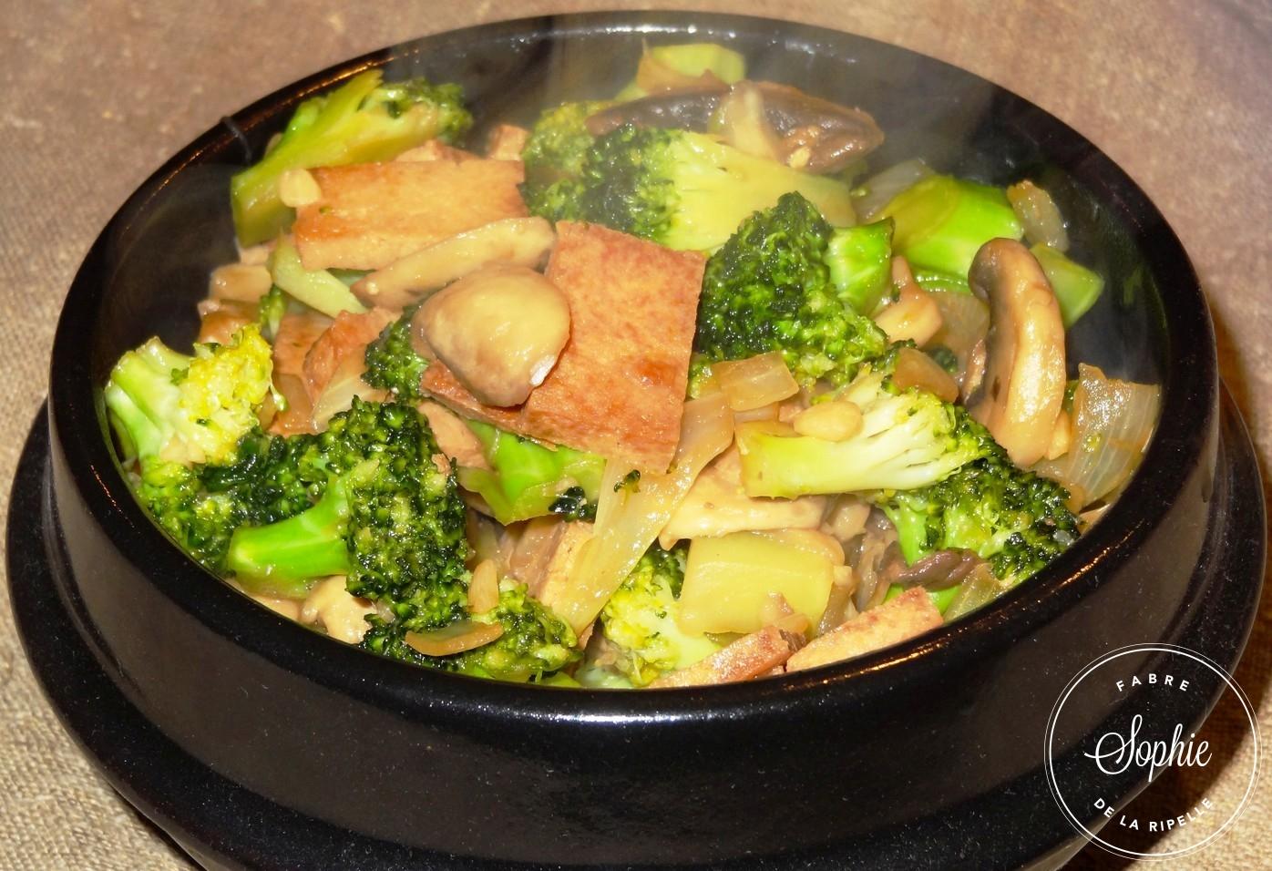 Tofu frit aux brocolis et champignons la tendresse en - Cuisiner champignons de paris frais a la poele ...
