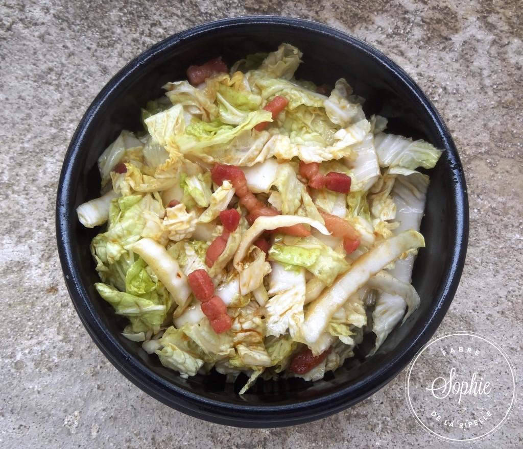 Salade de chou chinois aux lardons caram lis s la - Cuisiner le chou chinois cuit ...