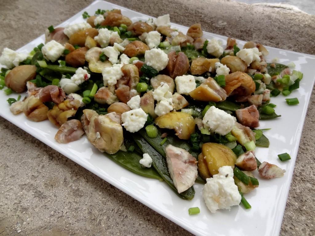 salade de pois gourmands aux ch taignes la tendresse en cuisine. Black Bedroom Furniture Sets. Home Design Ideas