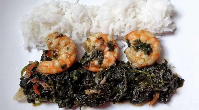 sauce épinards crevettes et poisson fumé