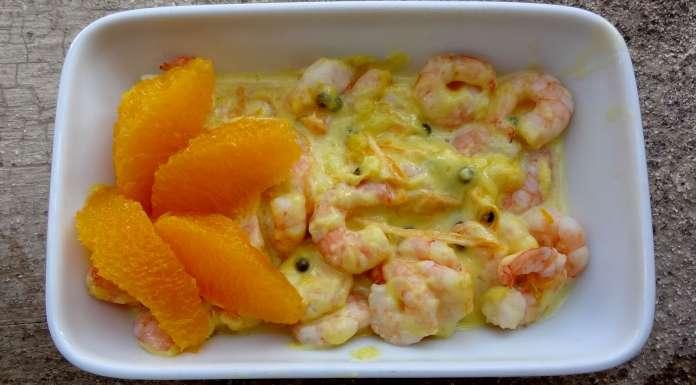 crevettes à l'orange et poivre vert