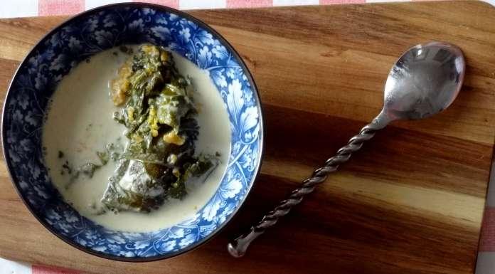 kale farci à la patate douce et lait de coco